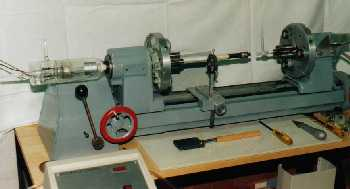(Click To Zoom) glass lathe for repair or fabrication of pyrex laser tubes